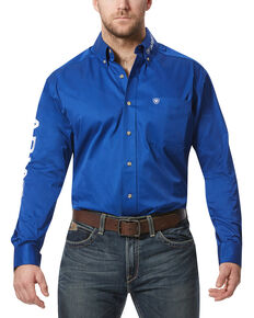 Ariat Men's Solid Twill Team Logo Long Sleeve Western Shirt, Blue, hi-res