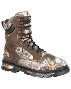 Rocky Men's Rams Horn Camo Waterproof Outdoor Boots - Soft Toe, Bark, hi-res