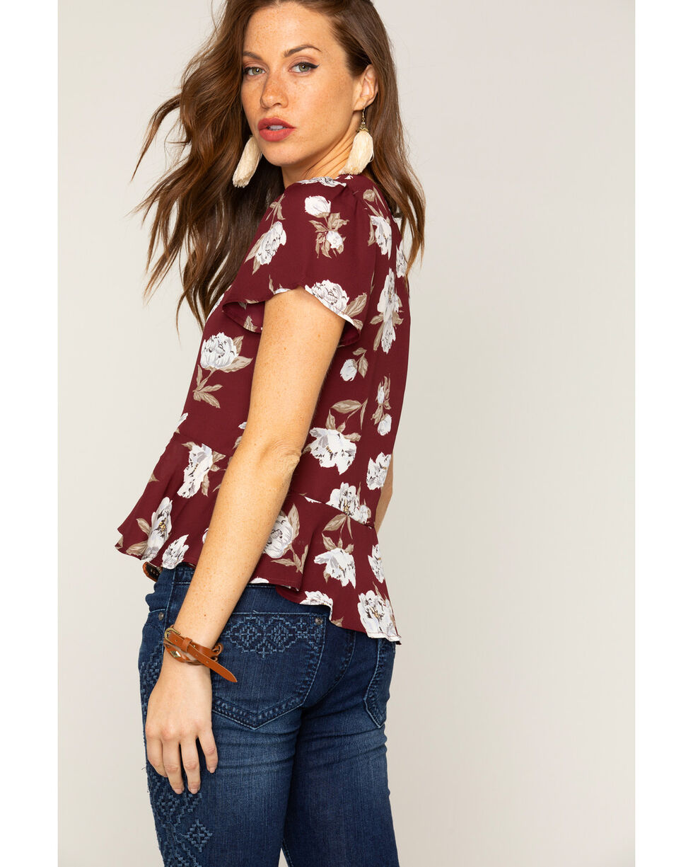 Shyanne® Women's Floral Lace Up Peplum Top, Burgundy, hi-res