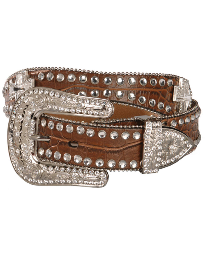 Blazin Roxx Scalloped Rhinestone Cross Croc Print Belt, Brown, hi-res
