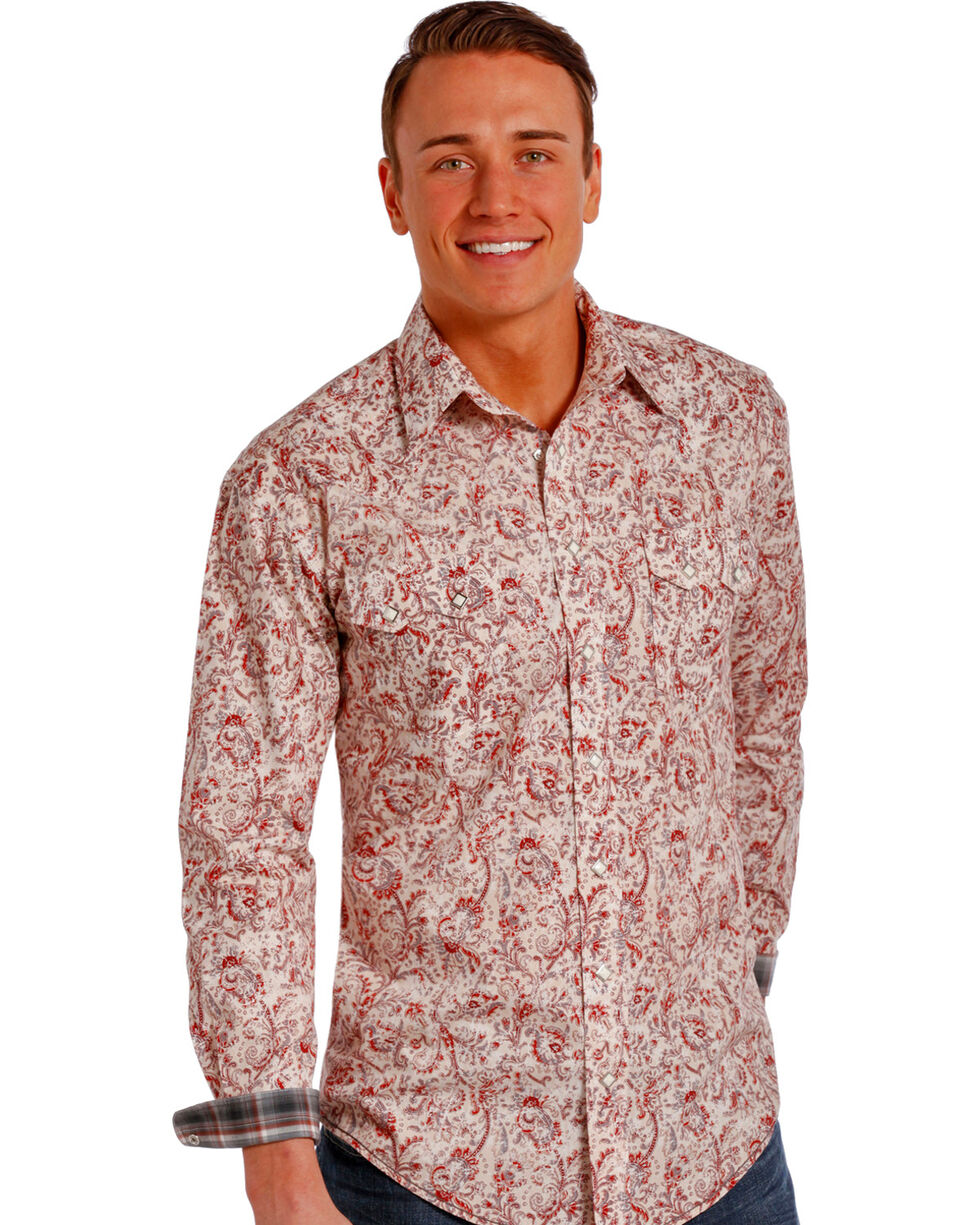 Rough Stock by Panhandle Slim Red Paisley Western Snap Shirt , Multi, hi-res