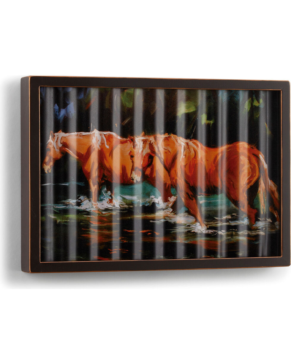Big Sky Carvers Horses in Water Corrugated Metal Art, Dark Brown, hi-res