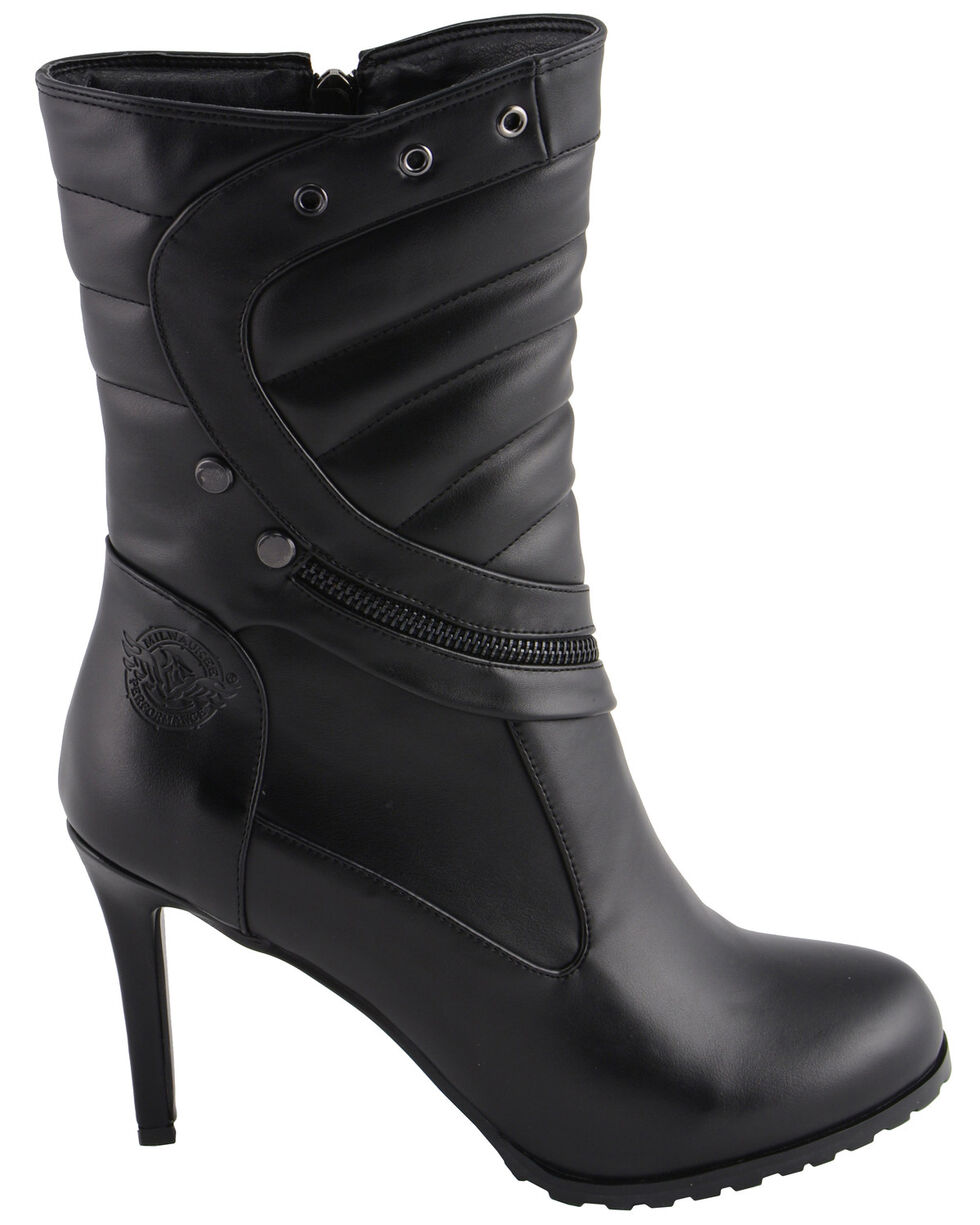 Milwaukee Leather Women's Zipper Accent High Heel Boots - Round Toe, Black, hi-res
