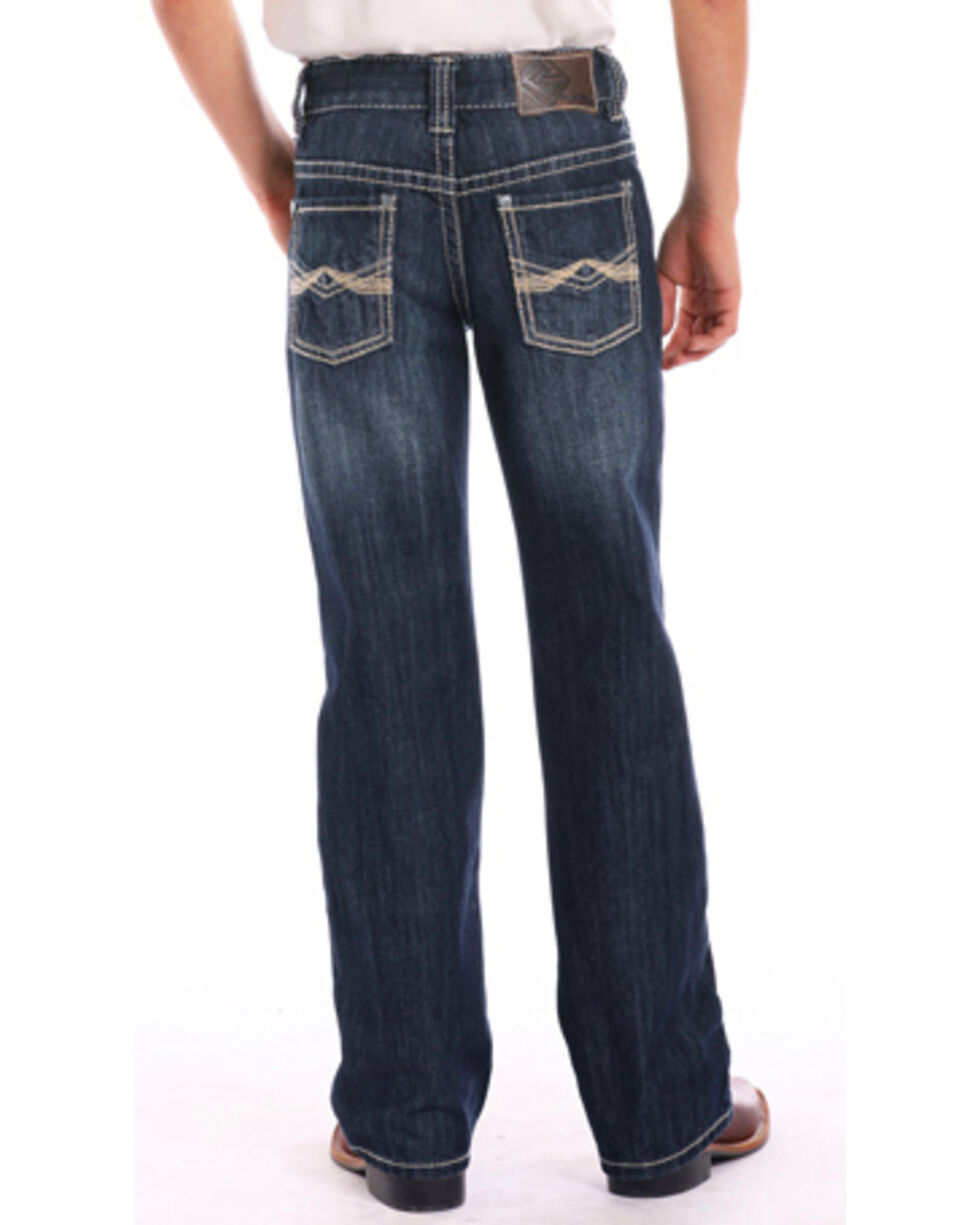 Rock & Roll Cowboy Boys' BB Gun Zig Zag Stitch Regular Fit Boot Cut Jeans, Indigo, hi-res