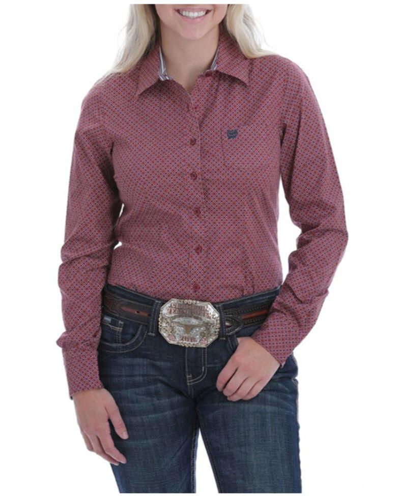 Cinch Women's Dark Pink Geo Print Button Long Sleeve Shirt , Pink, hi-res