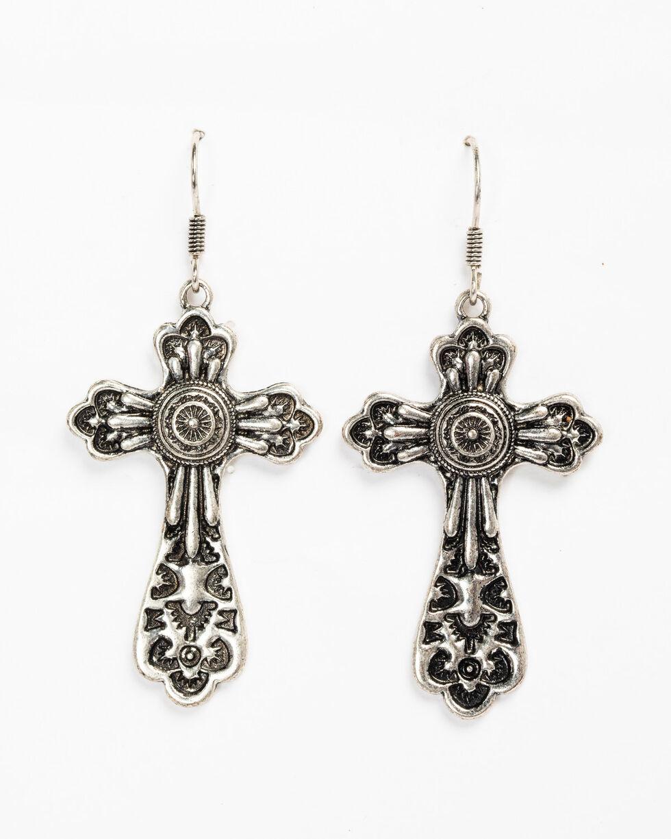 Shyanne Women's Scroll Filigree Cross Earrings, Silver, hi-res