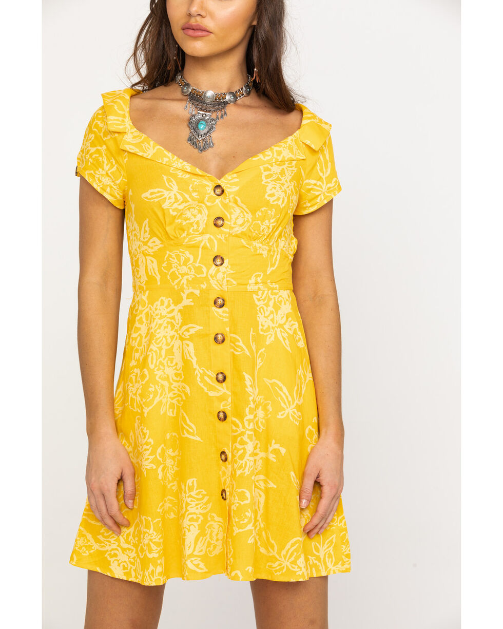 Free People Women's A Thing Called Love Mini Dress, Yellow, hi-res