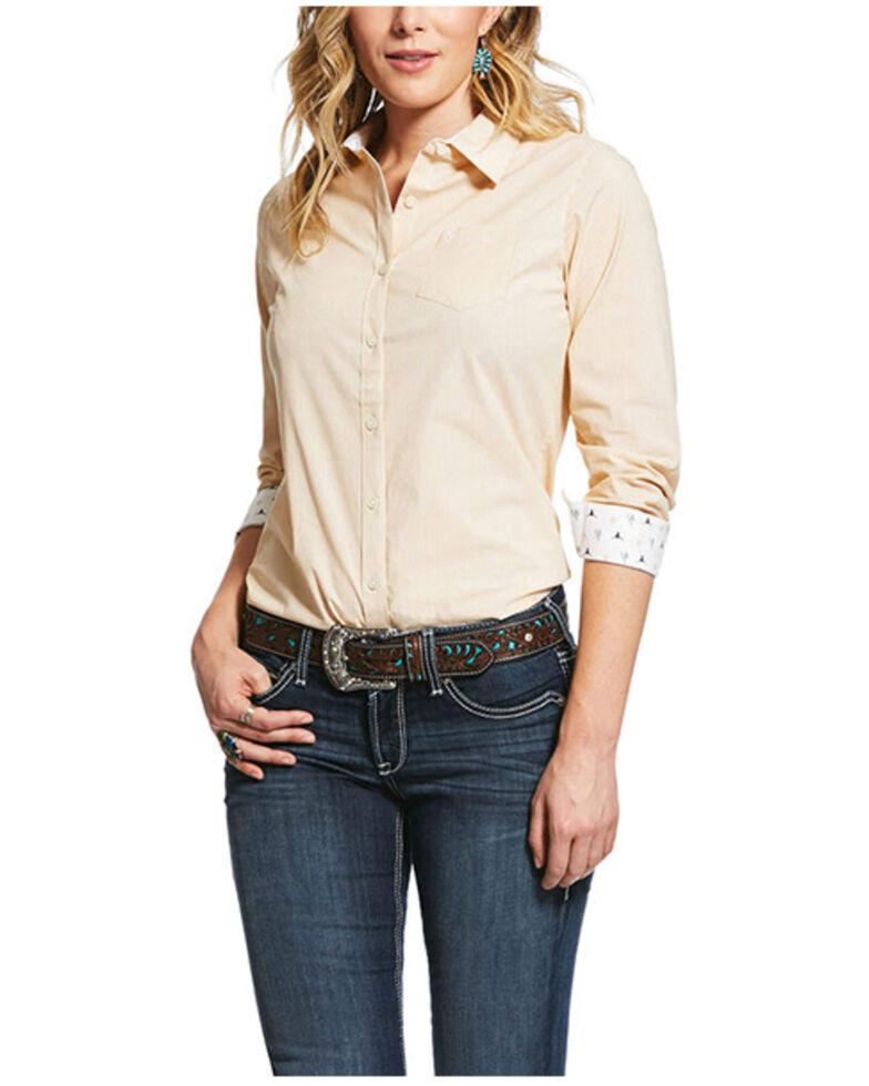 Ariat Women's REAL Kirby Ochre Striped Print Long Sleeve Western Shirt , Multi, hi-res