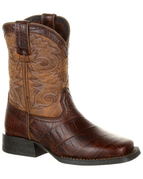 Durango Boys' Lil' Mustang Faux Gator Western Boots - Square Toe, Chocolate, hi-res