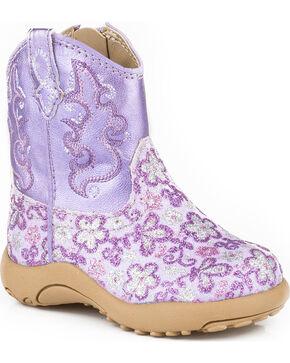 Roper Infant's Floral Glitter Western Boots, Purple, hi-res