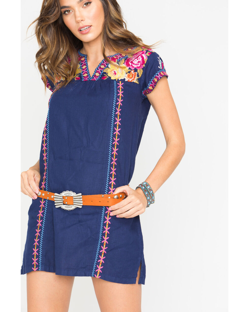 Johnny Was Women's Navy Vella V-Neck Mexican Tunic Dress , Navy, hi-res