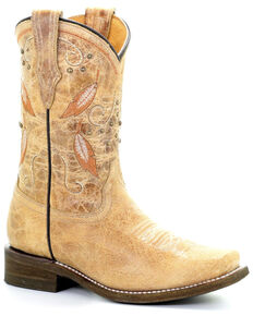 Corral Girls' Honey Feathers Embroidery Western Boots - Square Toe, Honey, hi-res