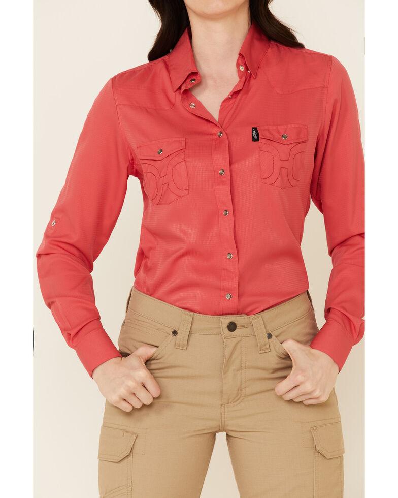 HOOey Women's Solid Watermelon Habitat Sol Long Sleeve Snap Western Core Shirt , Coral, hi-res