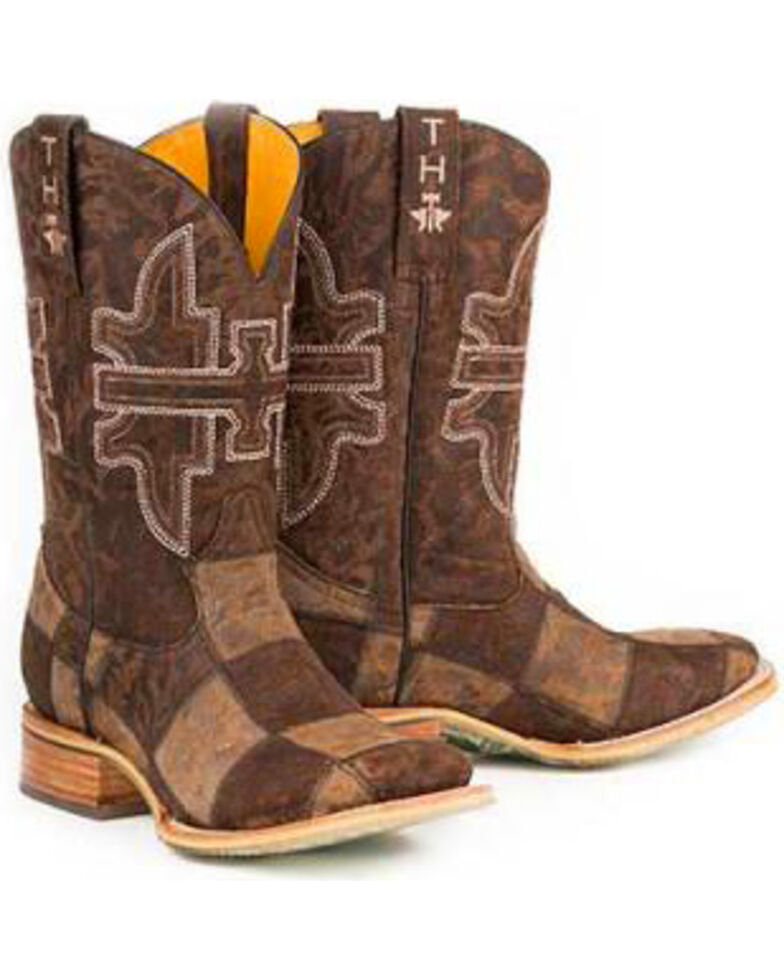 Tin Haul Men's Million Dollar Check Western Boots, Brown, hi-res