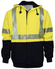 National Safety Apparel Men's FR Hi-Vis Hybrid Zip Front Hooded Work Jacket - Tall, Bright Yellow, hi-res