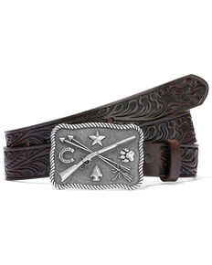 Tony Lama Boys' Cowboys & Indians Leather Belt, Brown, hi-res