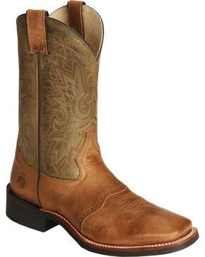 Double-H Men's Wide Square Toe Western Boots, Cognac, hi-res