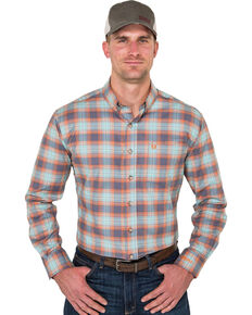 Noble Outfitters Men's Copen Blue Plaid Long Sleeve Western Shirt , Blue, hi-res