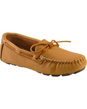 Men's Minnetonka Moosehide Driving Moccasins - XL, Natural, hi-res