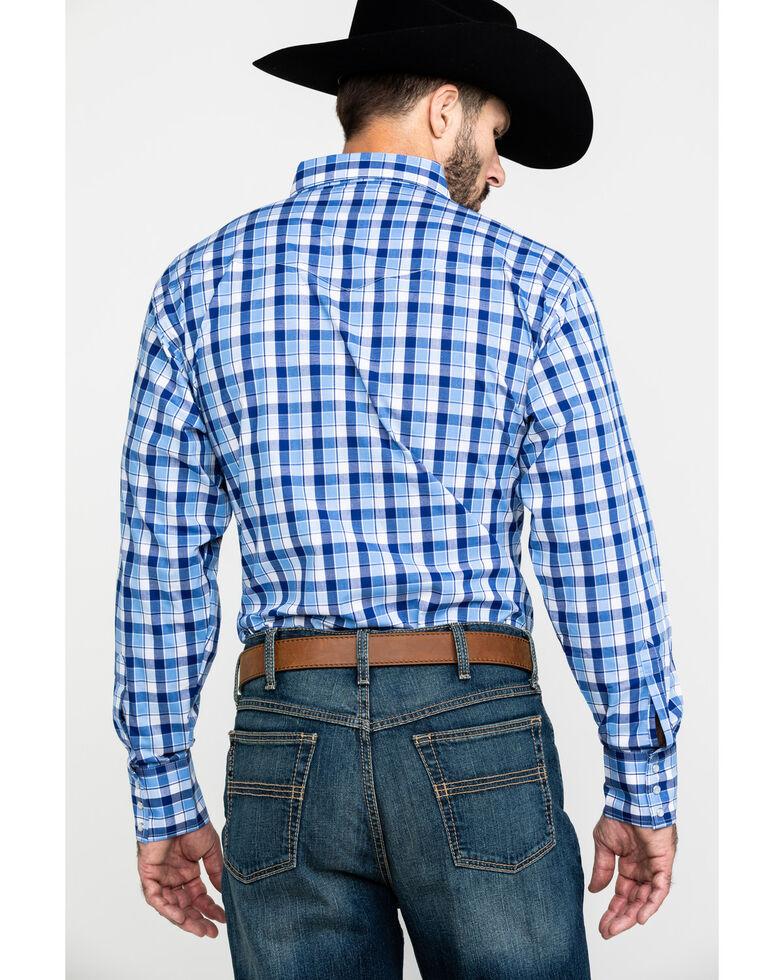 Wrangler Men's Wrinkle Resist Multi Plaid Snap Long Sleeve Western Shirt , Blue/white, hi-res