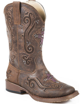 Roper Kid's Brown Faux Leather Cross Faith Western Boots, Brown, hi-res
