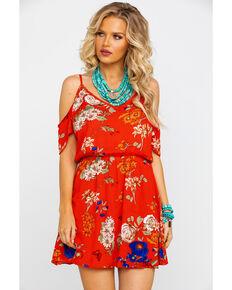 Red Label Panhandle Women's Red Floral Print Cold Shoulder Dress , Red, hi-res