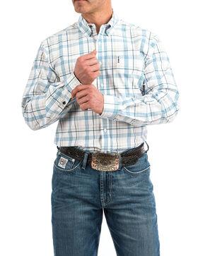 Cinch Men's White Modern Plaid Long Sleeve Western Shirt , White, hi-res
