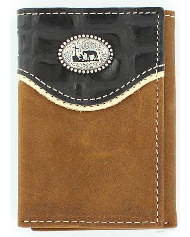 Nocona Belt Co Men's Christian Cowboy Concho Tri-Fold Wallet, Med Brown, hi-res