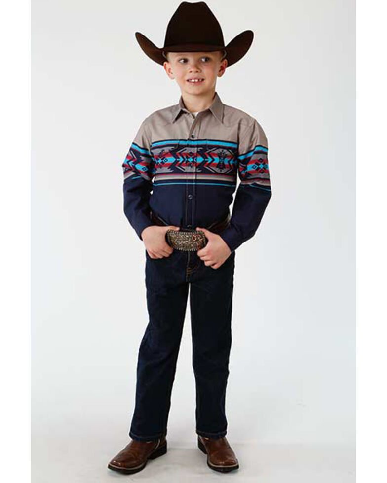 Roper Boys' Aztec Border Print Long Sleeve Western Shirt , Multi, hi-res