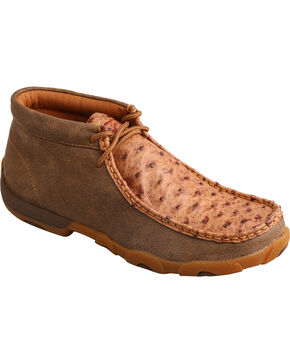 Twisted X Women's Ostrich Driving Mocs, Brown, hi-res