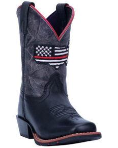 Dan Post Boys' Thin Red Line Western Boots - Square Toe, Black, hi-res