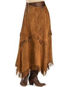 Kobler Leather Women's Nancy Leather Fringe Skirt, Brown, hi-res