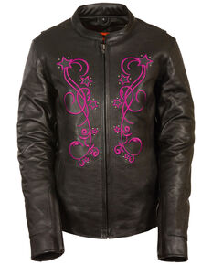 Milwaukee Leather Women's Reflective Star Leather Jacket - 4X, Pink/black, hi-res