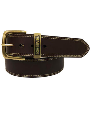 Berne Men's Brown Buffalo Leather Belt , Brown, hi-res