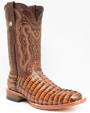 Tanner Mark Men's Caiman Tail Print Western Boots - Square Toe, Cognac, hi-res