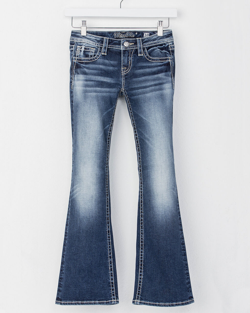 Miss Me Girls' Blue Feather Pocket Jeans - Boot Cut , Blue, hi-res