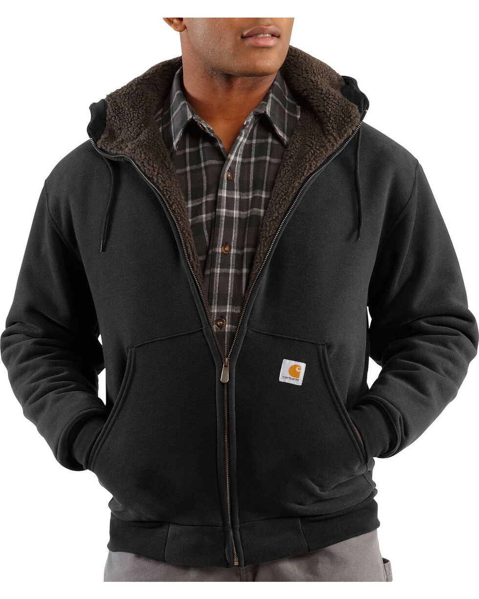 Carhartt Brushed Fleece Sherpa Lined Jacket, Black, hi-res