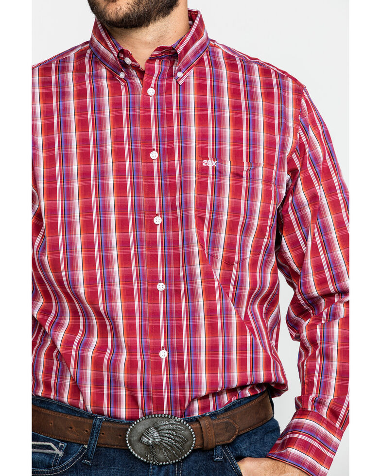 Wrangler 20X Men's Performance Multi Plaid Button Long Sleeve Western Shirt , Burgundy, hi-res