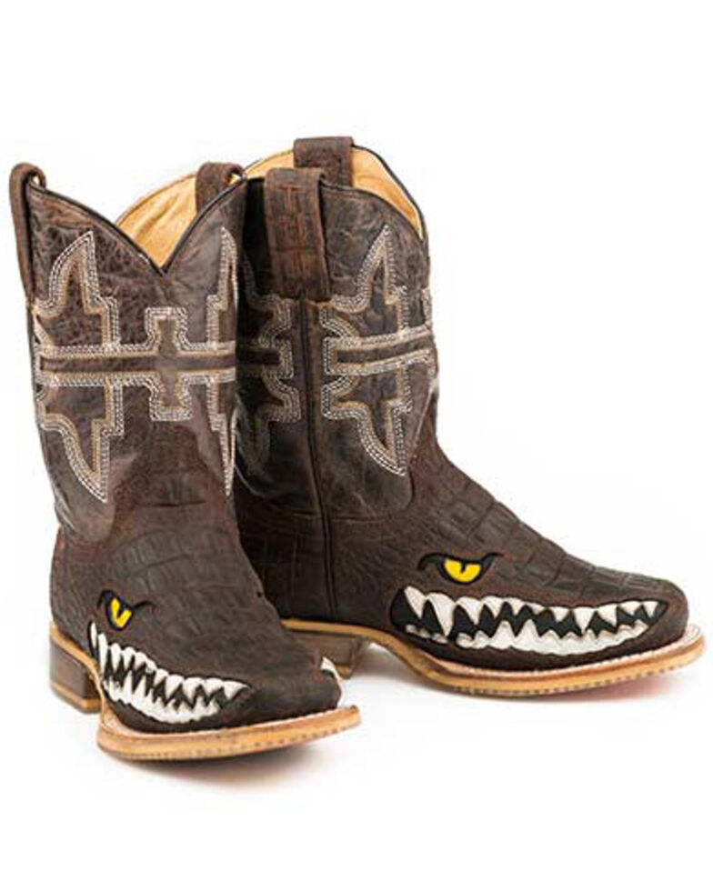 Tin Haul Youth Boys' Swamp Chomp Western Boots - Square Toe, Brown, hi-res