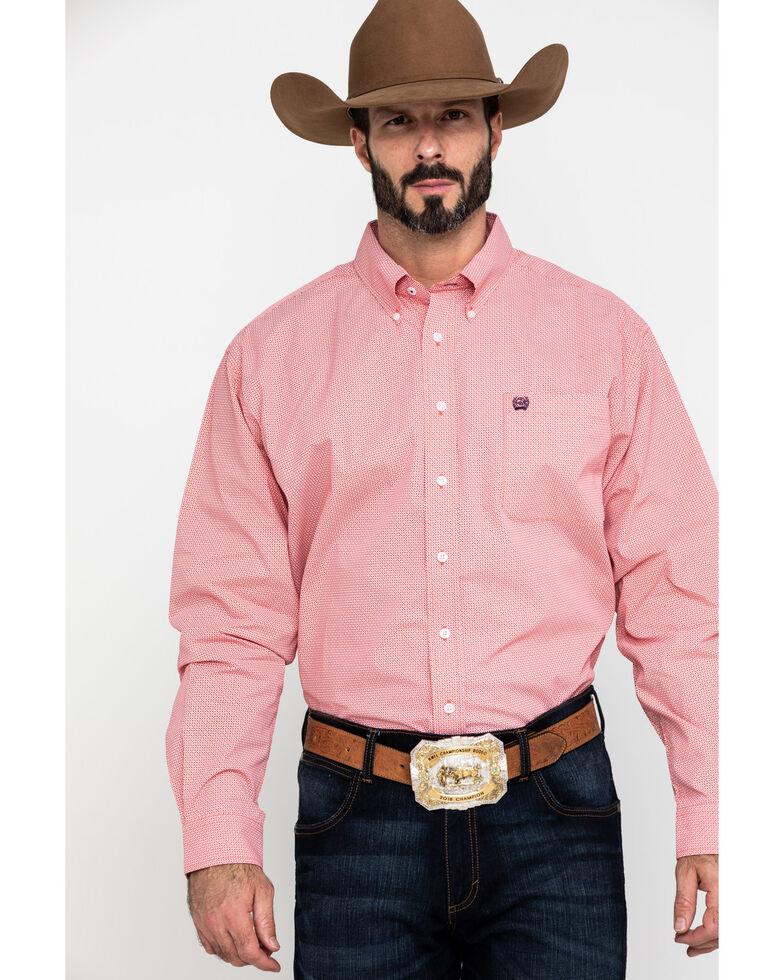 Cinch Men's Coral Geo Print Plain Weave Long Sleeve Western Shirt , Coral, hi-res