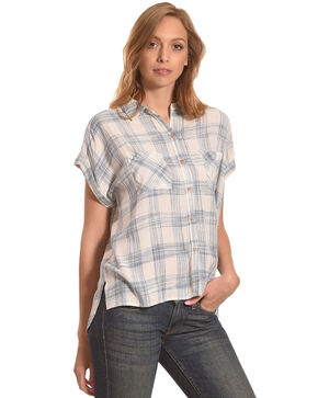 Shyanne Women's Plaid Short Sleeve Button Down Top, Blue, hi-res
