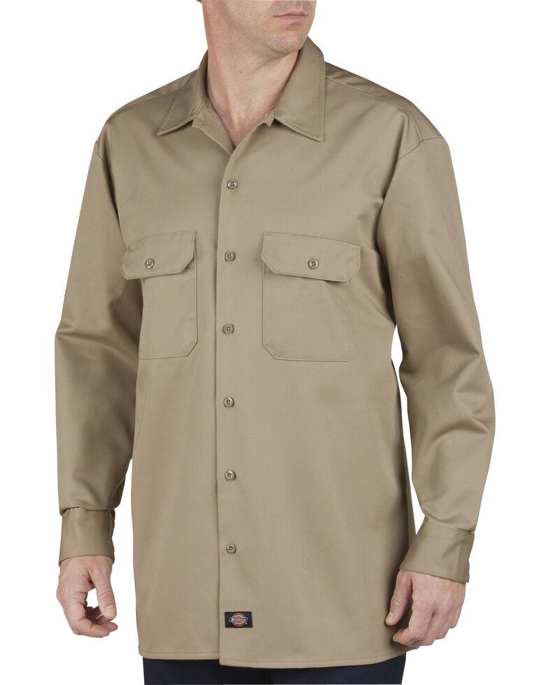 Dickies Heavyweight Cotton Work Shirt - Big and Tall, Khaki, hi-res