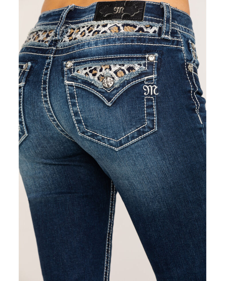 Miss Me Women's Medium Mid-Rise Leopard Embroidered Skinny Jeans, Blue, hi-res