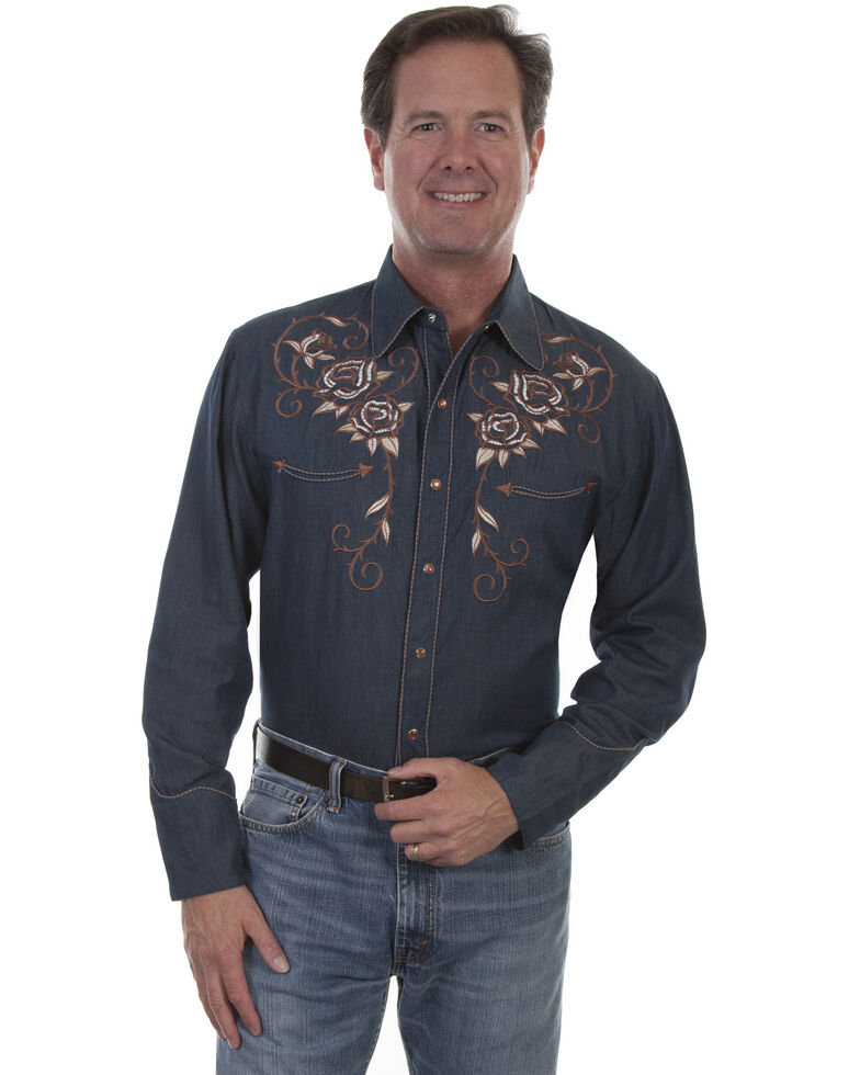 Scully Men's Roses and Longhorn Skull Embroidered Western Denim Shirt, Indigo, hi-res