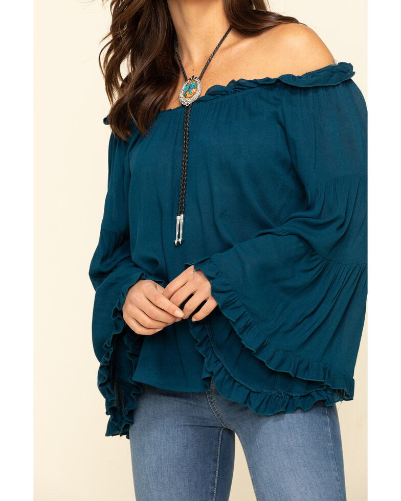 Red Label by Panhandle Women's Teal Off The Shoulder Bell Sleeve Top, Teal, hi-res
