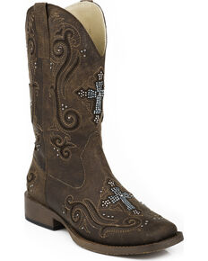 Roper Women's Bling Crystal Cross Faux Leather Western Boots, Brown, hi-res