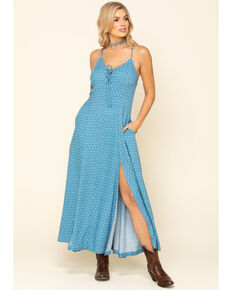 Idyllwind Women's Blue Down Home Polka Dot Maxi Dress, Blue, hi-res