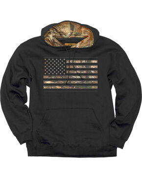 Buck Wear Men's Real Tree Stars and Stripes Hoodie, Black, hi-res