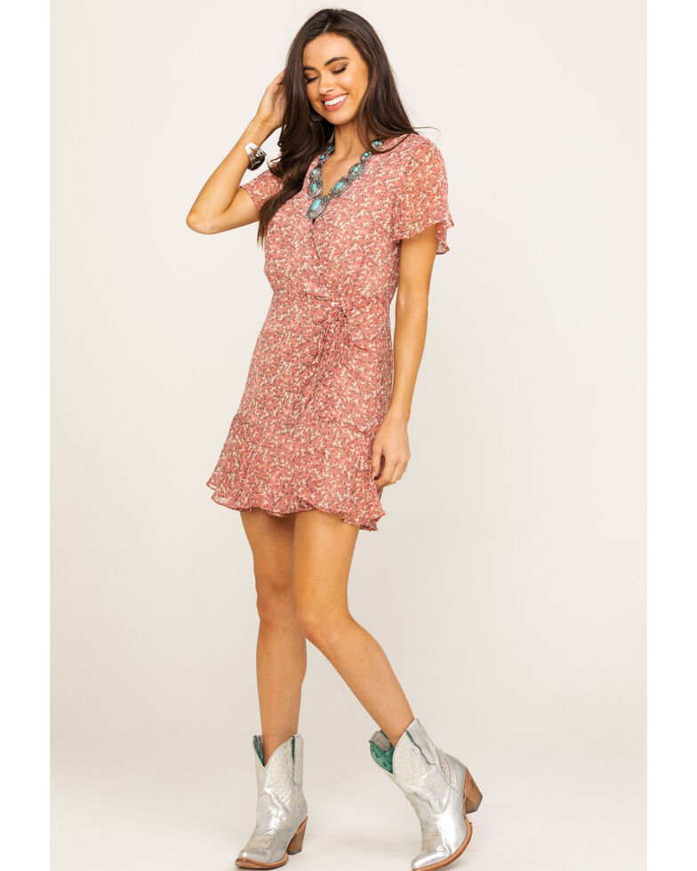 BB Dakota Women's Blush Call Me Daisy Wrap Dress, , hi-res