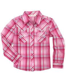 Cumberland Outfitters Toddler Girls' Plaid Lurex Snap Long Sleeve Western Shirt, Pink, hi-res